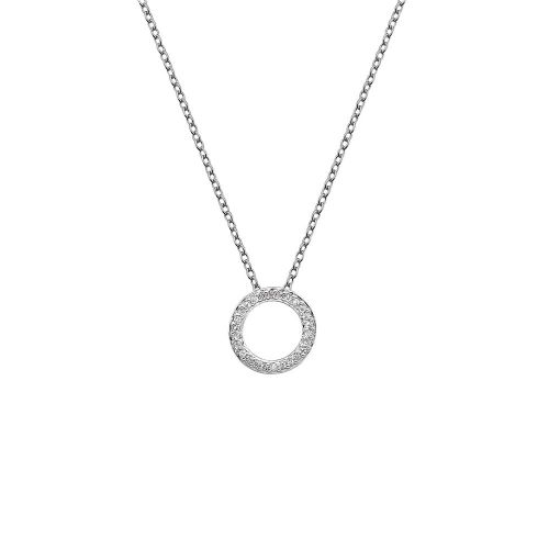 Round Circle Hot Diamonds Silver Necklace DP661